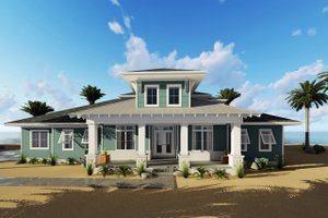 Beach Exterior - Front Elevation Plan #455-210