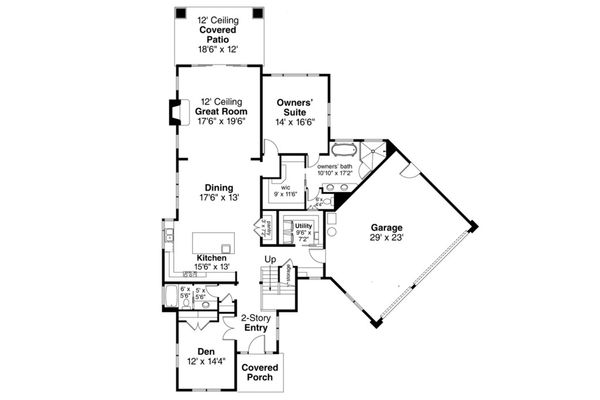 Contemporary Floor Plan - Main Floor Plan Plan #124-1112