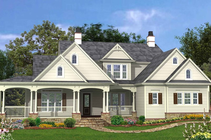 House Plan Design - Traditional Exterior - Front Elevation Plan #54-406