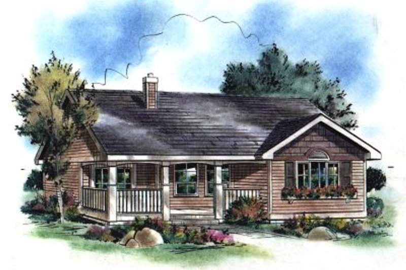 Ranch Style House Plan - 3 Beds 1 Baths 901 Sq/Ft Plan #18-1046 Exterior - Front Elevation
