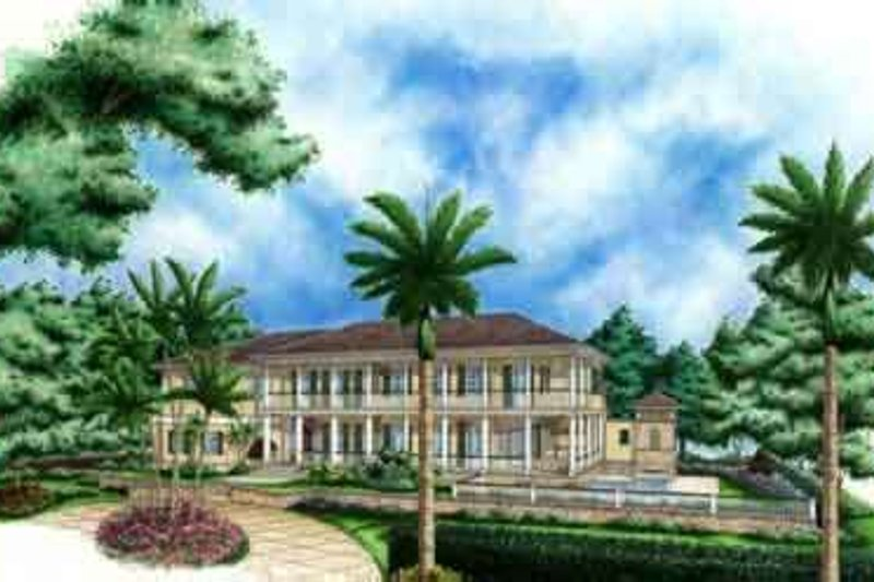 Mediterranean Style House Plan - 4 Beds 5.5 Baths 4110 Sq/Ft Plan #27-330 Exterior - Front Elevation