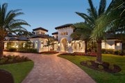 Mediterranean Style House Plan - 4 Beds 4.5 Baths 4403 Sq/Ft Plan #27-545 Exterior - Front Elevation