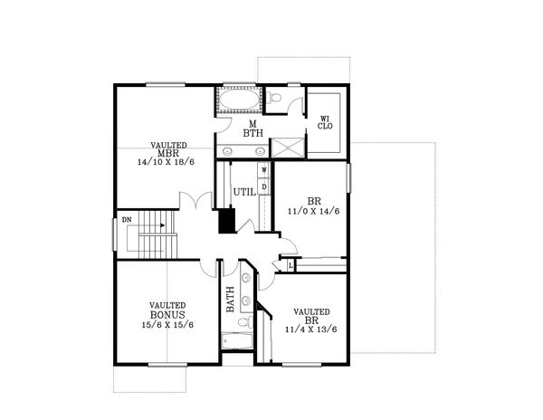 Craftsman Floor Plan - Upper Floor Plan #53-554