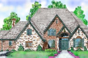 European Exterior - Front Elevation Plan #52-125