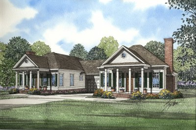 Southern Style House Plan - 2 Beds 2 Baths 2344 Sq/Ft Plan #17-1063 Exterior - Front Elevation