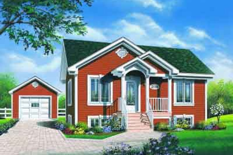 Traditional Style House Plan - 2 Beds 1 Baths 896 Sq/Ft Plan #23-595 Exterior - Front Elevation