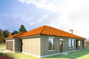 Mediterranean Style House Plan - 4 Beds 3 Baths 2541 Sq/Ft Plan #80-165 Exterior - Rear Elevation