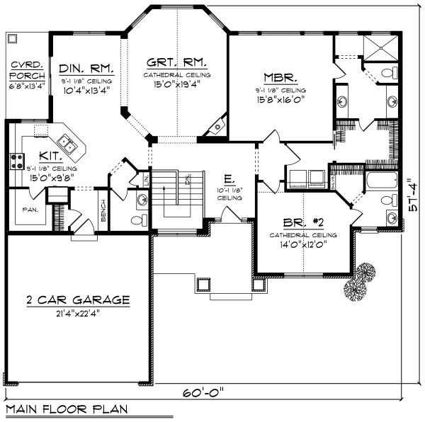 Craftsman Floor Plan - Main Floor Plan #70-1269