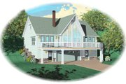 Contemporary Style House Plan - 3 Beds 3 Baths 1656 Sq/Ft Plan #81-695 Exterior - Front Elevation