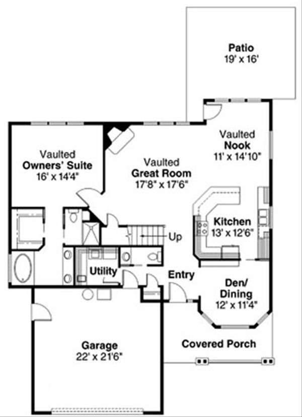 Craftsman Floor Plan - Main Floor Plan Plan #124-726