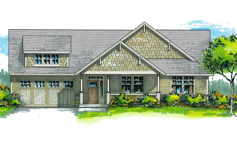 Craftsman Style House Plan - 3 Beds 2 Baths 1825 Sq/Ft Plan #53-566 Exterior - Front Elevation
