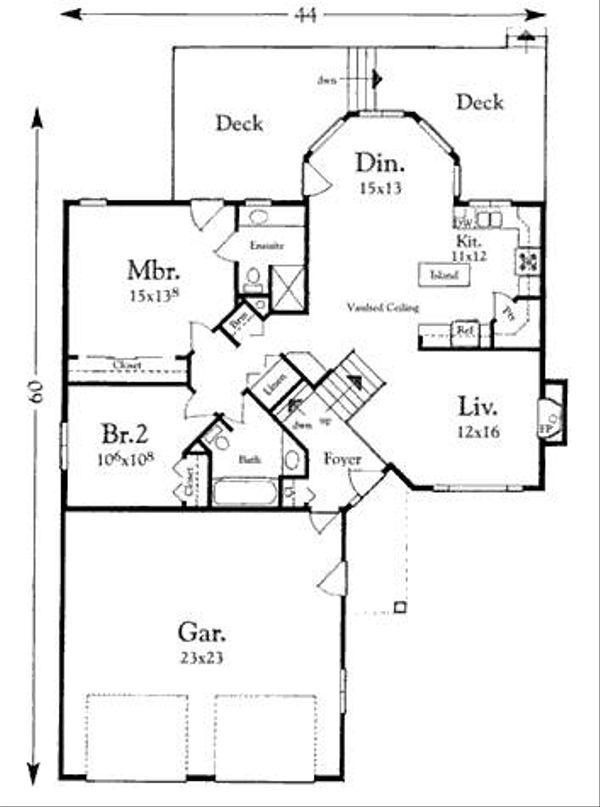 Mediterranean Floor Plan - Main Floor Plan Plan #409-108