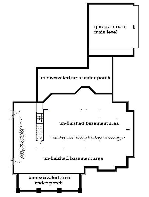 Craftsman Floor Plan - Lower Floor Plan #45-598