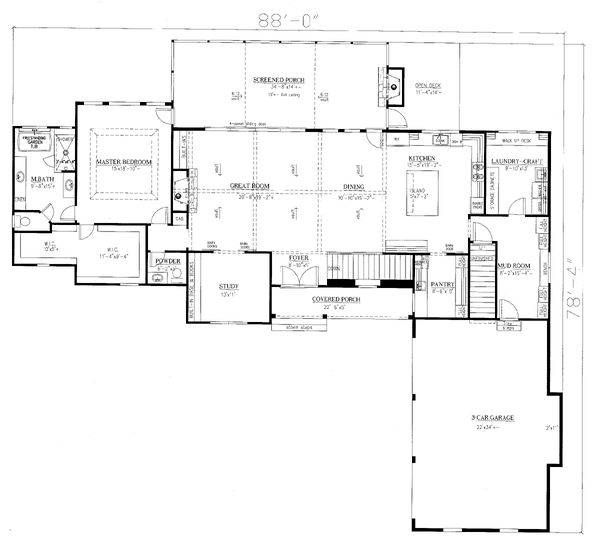 Craftsman Floor Plan - Main Floor Plan Plan #437-115