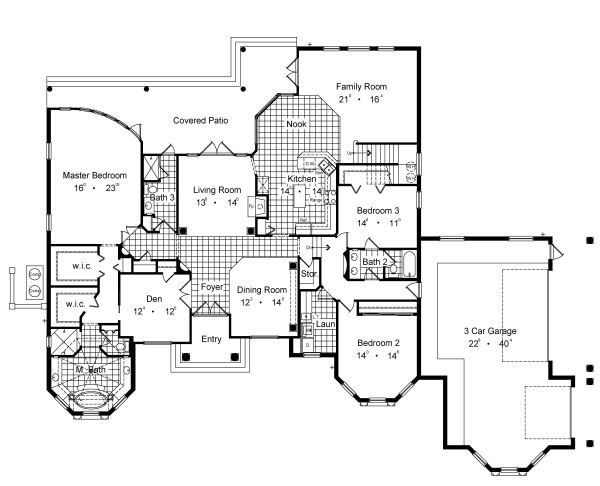European Floor Plan - Main Floor Plan Plan #417-400