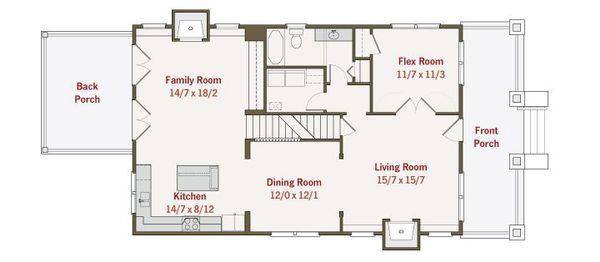 Craftsman Style House Plan - 4 Beds 3 Baths 2680 Sq/Ft Plan #461-36 Floor Plan - Main Floor Plan