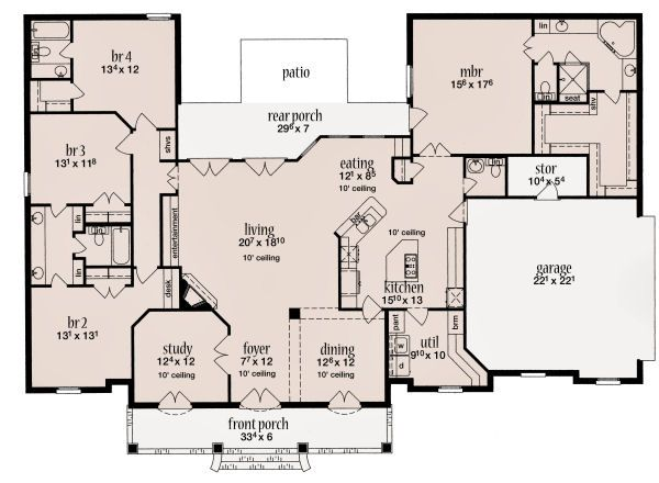 European Floor Plan - Main Floor Plan Plan #36-487