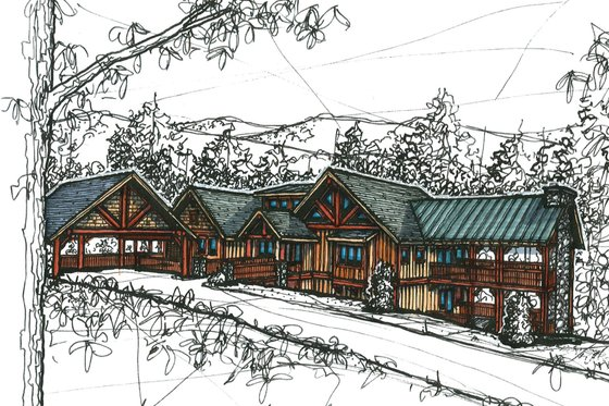 Craftsman Exterior - Front Elevation Plan #921-11
