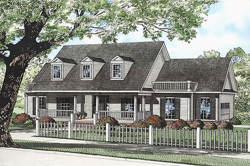 Country Style House Plan - 3 Beds 3 Baths 1989 Sq/Ft Plan #17-532 Exterior - Front Elevation