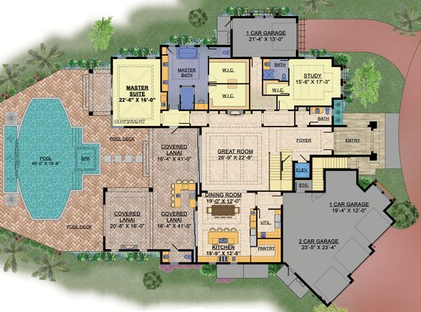 Contemporary Floor Plan - Main Floor Plan Plan #548-25