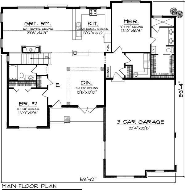 Ranch Floor Plan - Main Floor Plan Plan #70-1079