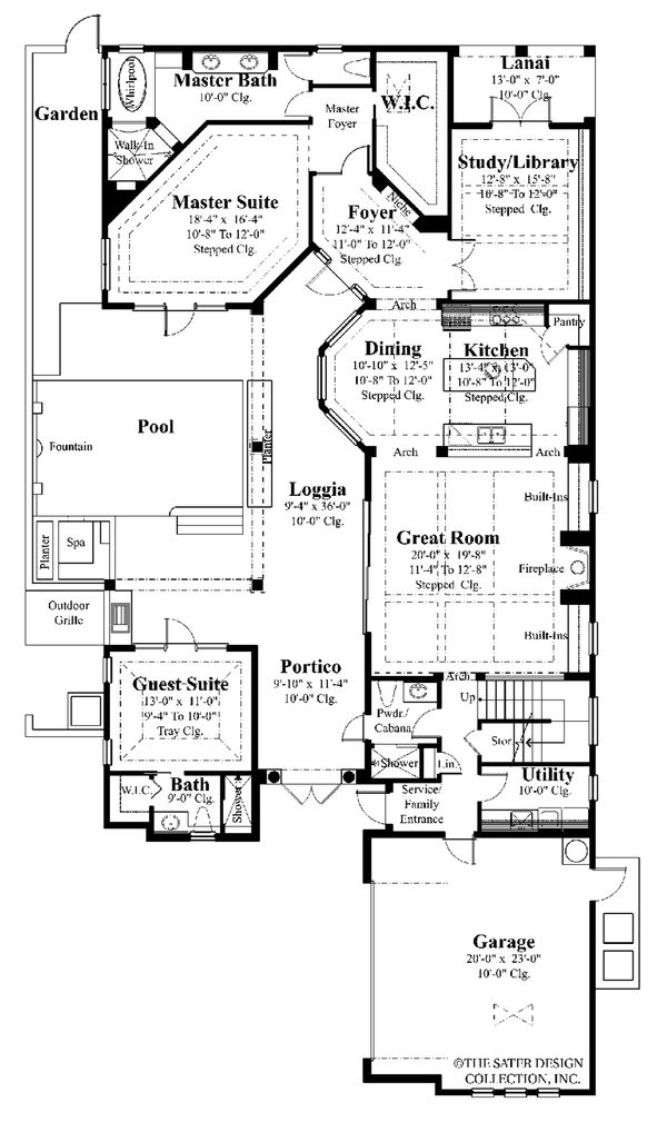 Mediterranean Style House Plan - 4 Beds 5 Baths 3031 Sq/Ft Plan #930-22 Floor Plan - Main Floor Plan