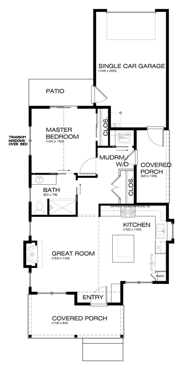 Craftsman Style House Plan - 1 Beds 1 Baths 788 Sq/Ft Plan #895-53 Floor Plan - Main Floor Plan