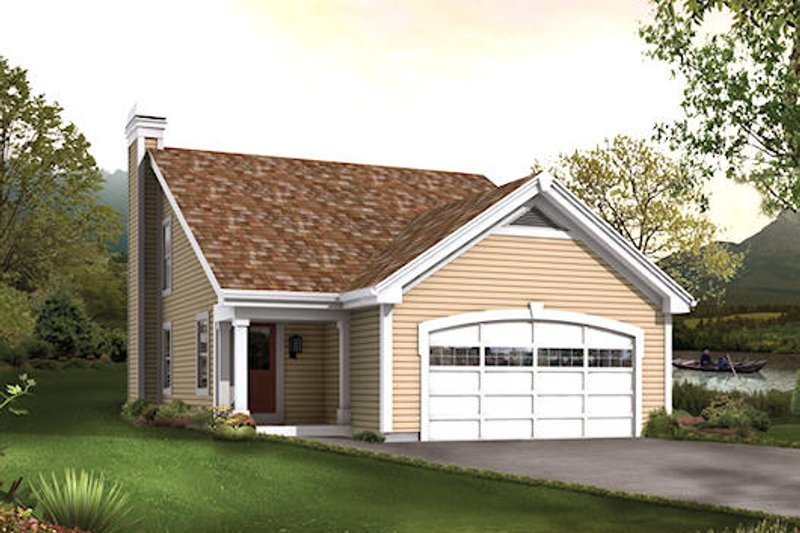 Traditional Style House Plan - 2 Beds 1.5 Baths 1137 Sq/Ft Plan #57-401 Exterior - Front Elevation