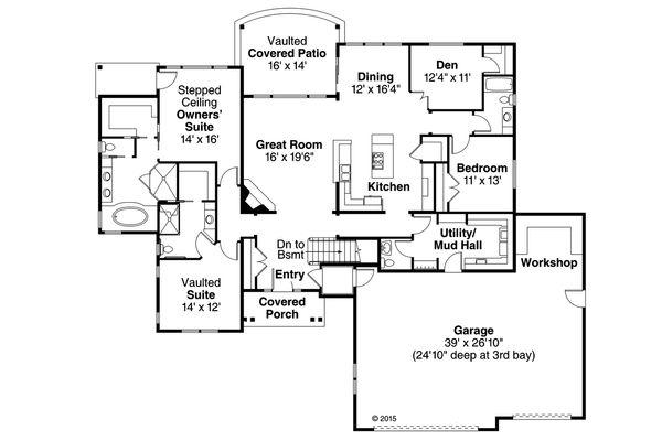 House Plan Design - Ranch Floor Plan - Main Floor Plan #124-974