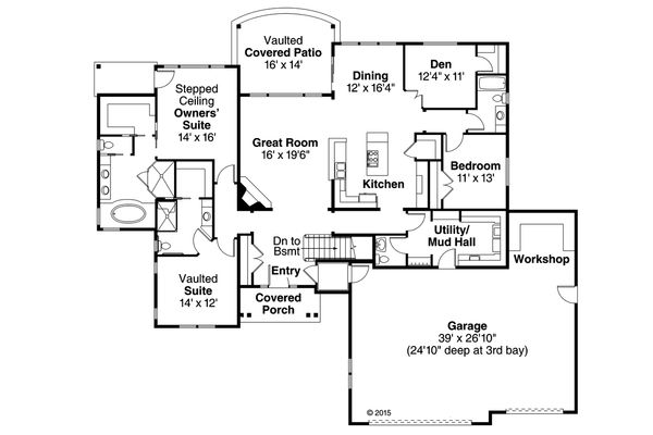 Ranch Floor Plan - Main Floor Plan Plan #124-974