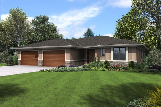 Contemporary Exterior - Front Elevation Plan #48-1022