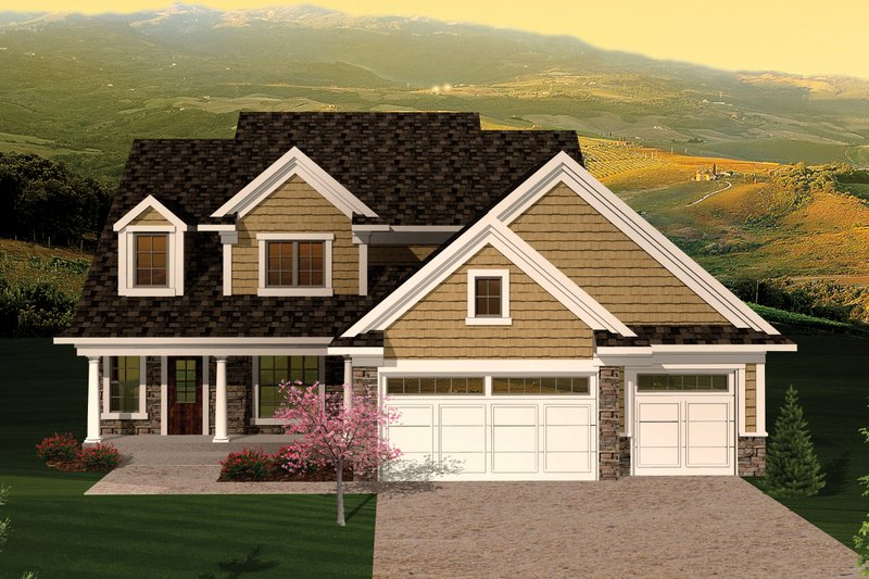Dream House Plan - Traditional Exterior - Front Elevation Plan #70-1053