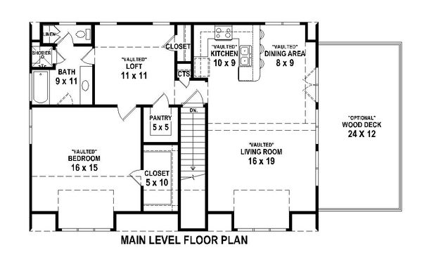 Main Level floor plan - 1200 square traditional home