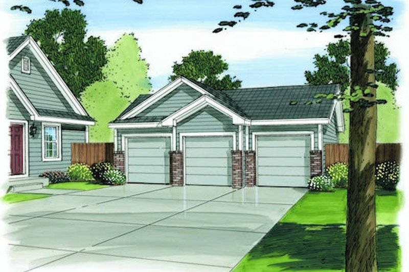 Traditional Style House Plan - 0 Beds 0 Baths 924 Sq/Ft Plan #455-83 Exterior - Front Elevation