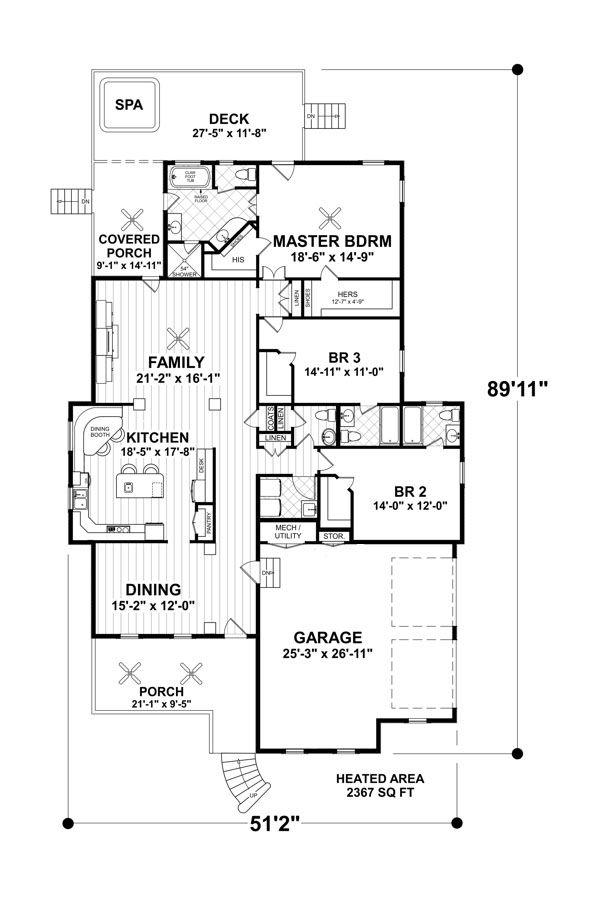 Craftsman Floor Plan - Main Floor Plan Plan #56-700