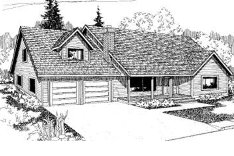 Traditional Style House Plan - 3 Beds 2 Baths 1753 Sq/Ft Plan #60-337 Exterior - Front Elevation