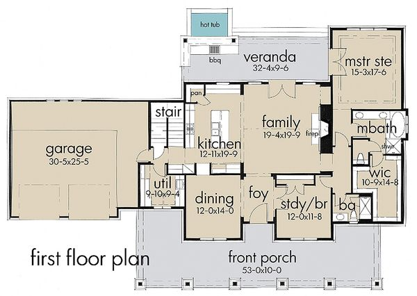 Country style house plan, main level floor plan