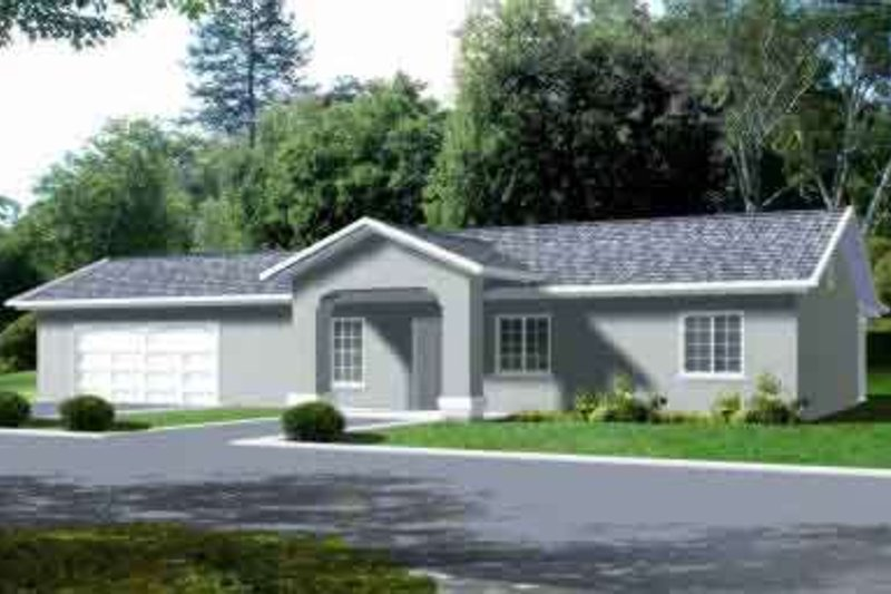 Adobe / Southwestern Style House Plan - 3 Beds 2 Baths 1344 Sq/Ft Plan #1-1195 Exterior - Front Elevation