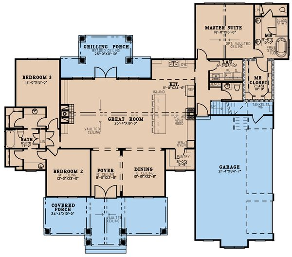 Dream House Plan - Farmhouse Floor Plan - Main Floor Plan #923-197