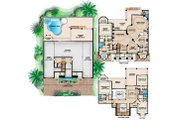 Mediterranean Style House Plan - 4 Beds 5.1 Baths 9329 Sq/Ft Plan #27-529 Floor Plan - Main Floor Plan