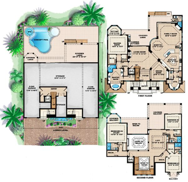 Mediterranean Floor Plan - Main Floor Plan Plan #27-529