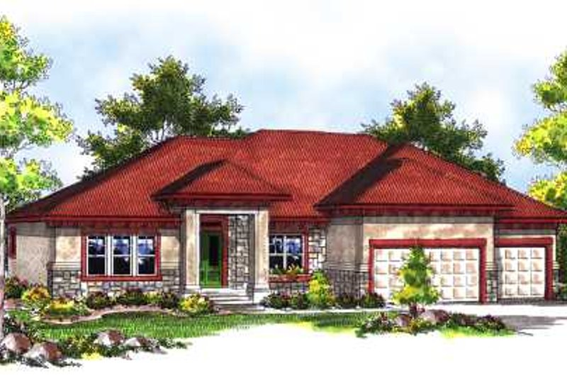 Mediterranean Exterior - Front Elevation Plan #70-718