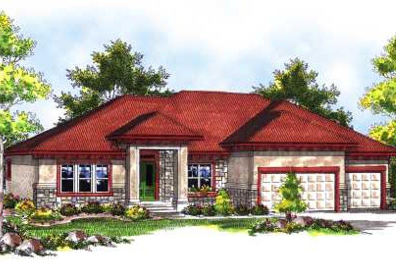 Dream House Plan - Mediterranean Exterior - Front Elevation Plan #70-718