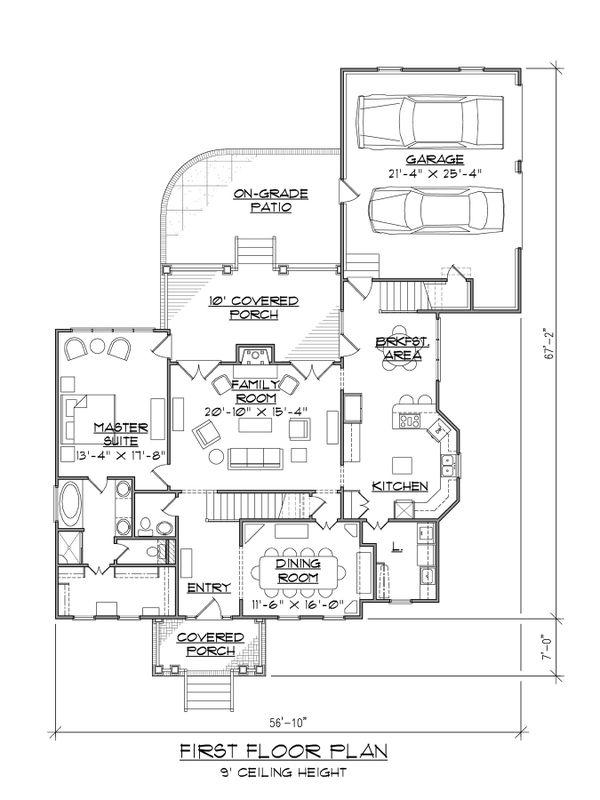 Dream House Plan - Craftsman Floor Plan - Main Floor Plan #1054-62