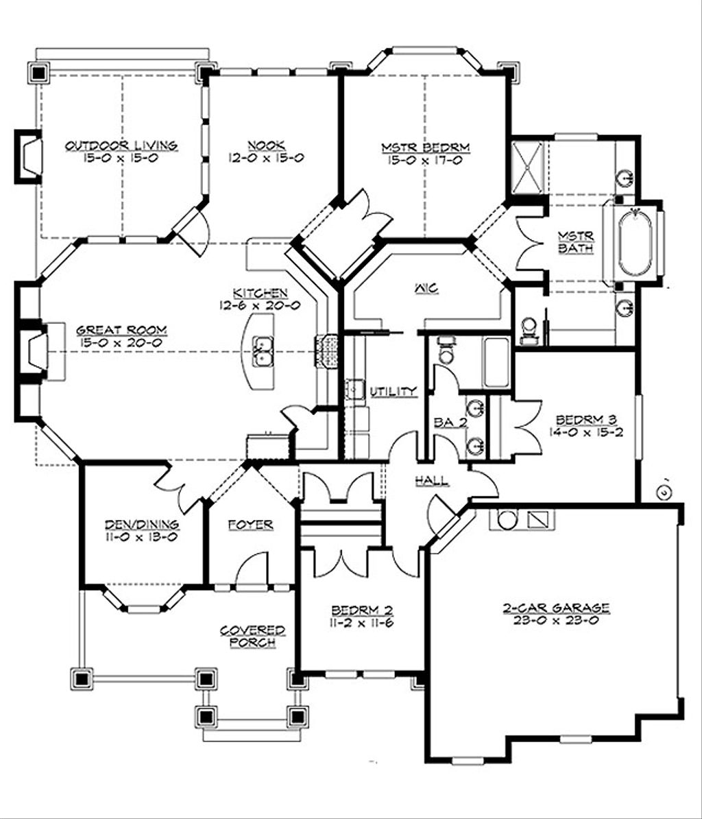 Craftsman style house plan 3 beds 2 baths 2320 sq ft plan 132