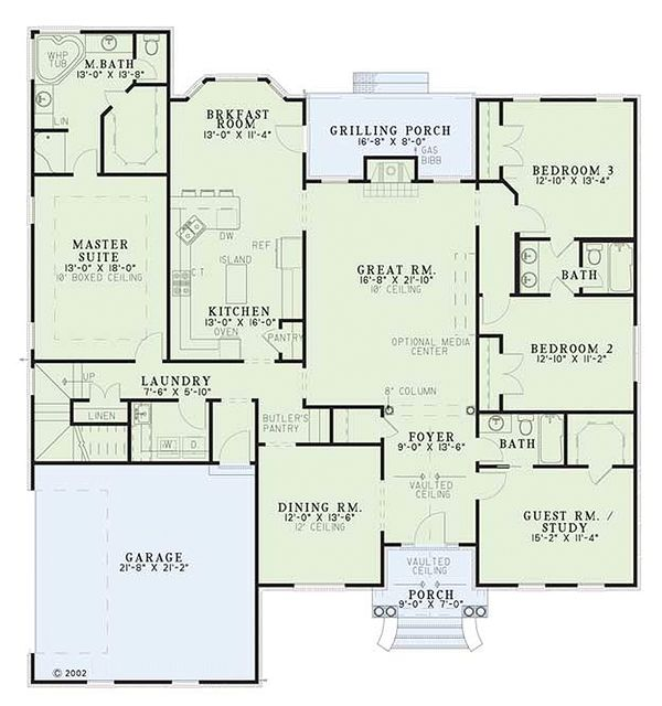 European Floor Plan - Main Floor Plan Plan #17-526