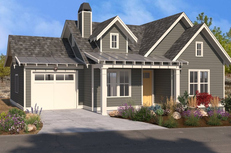 Traditional Style House Plan - 1 Beds 1.5 Baths 799 Sq/Ft Plan #895-130