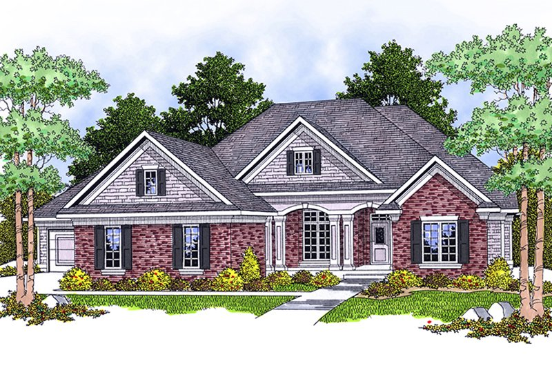 Southern Exterior - Front Elevation Plan #70-807
