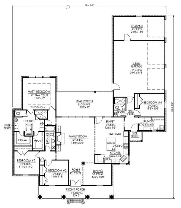 Southern Floor Plan - Main Floor Plan Plan #1074-19