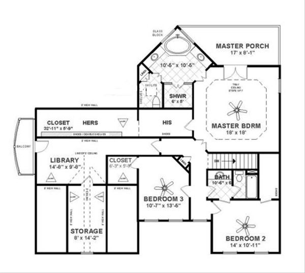 Craftsman Floor Plan - Upper Floor Plan Plan #56-702